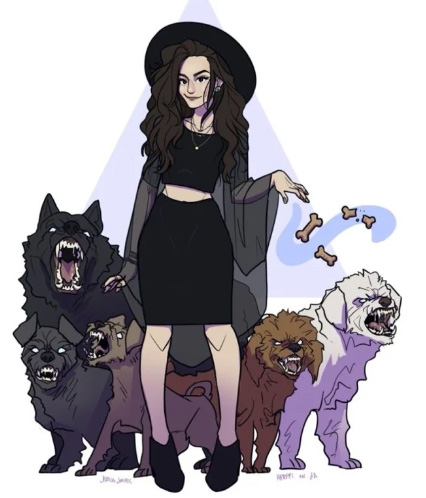 Агрессивная девушка с агрессивными собаками